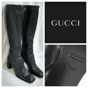 EUC Gucci Knee Black Leather Boots 7.5B